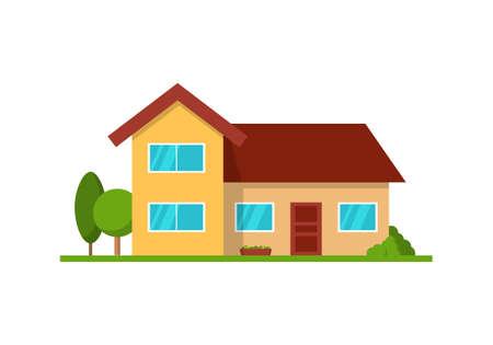 Modernes Häuschenhaus, Vorderansicht, getrennt auf Weiß Standard-Bild - 91708153