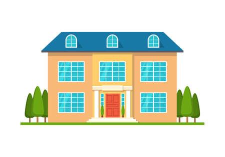 Modernes Häuschenhaus, Vorderansicht, lokalisiert auf Weiß Standard-Bild - 91898411
