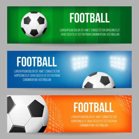 Voetbalstadion banner sjablonen instellen Stock Illustratie