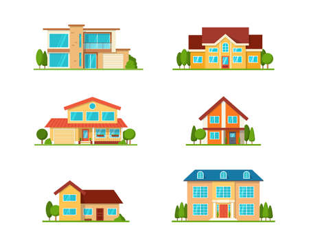 Set of Modern cottage house, front view, isolated on white Ilustração
