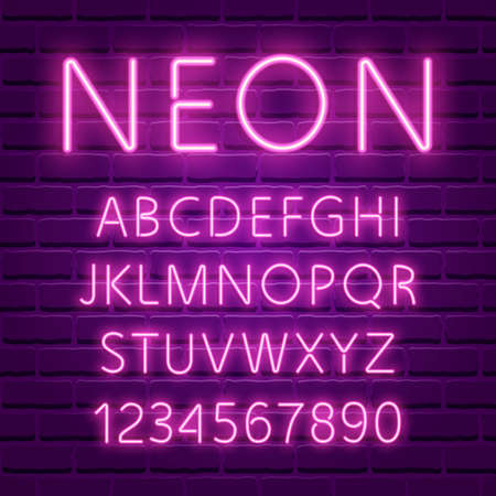 Glowing ultra violet neon character font vector illustration