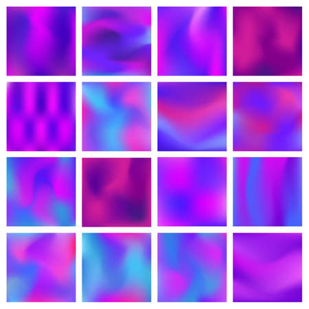 Ultra violet hologram set vector illustration