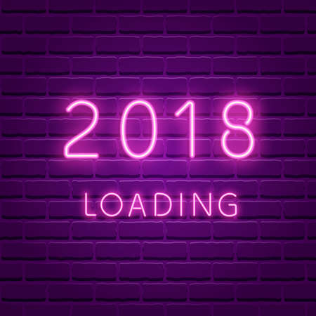 2018 loading New year glowing neon ultra violet illustration.