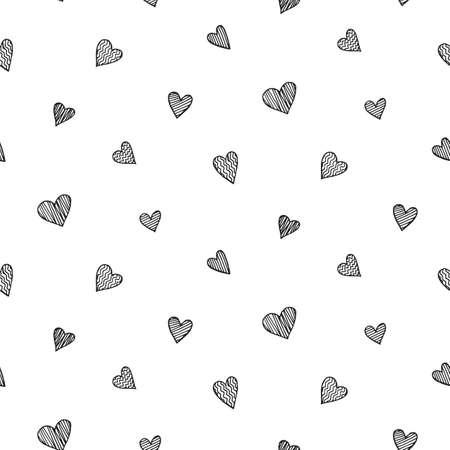 Padrão sem emenda romântico de vetor com mão desenhada coração doodles Foto de archivo - 92710966