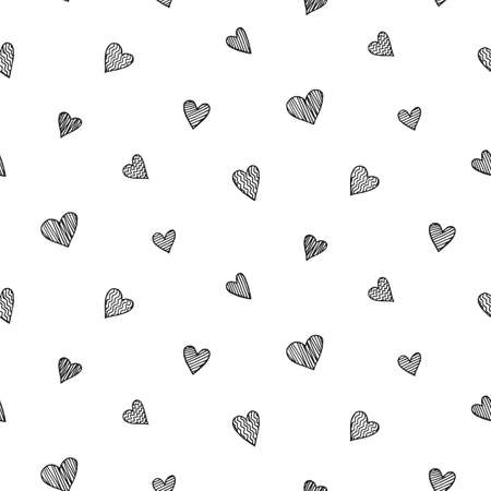 Vector romantic seamless pattern with hand drawn heart doodles
