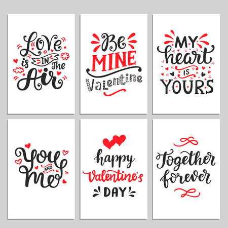 Happy Valentines Day typography set with hand drawn lettering