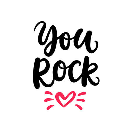 You Rock. Hand Written Lettering for Valentines Day Gift Tag Çizim