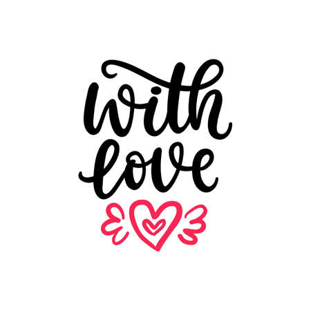 With Love. Hand Written Lettering for Valentines Day Gift Tag Illustration