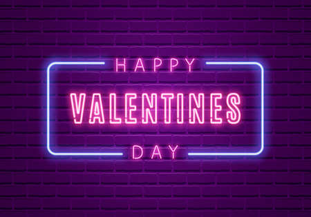 Happy Valentines Day. Neon Glowing Text Illustration