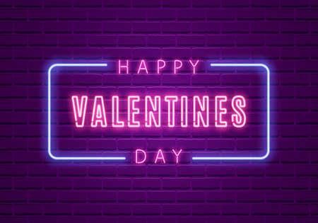 Happy Valentines Day. Neon Glowing Text Stock Illustratie