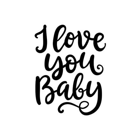 I Love You Baby. Hand Written Lettering for Valentines Day Gift Tag Banco de Imagens - 93078340