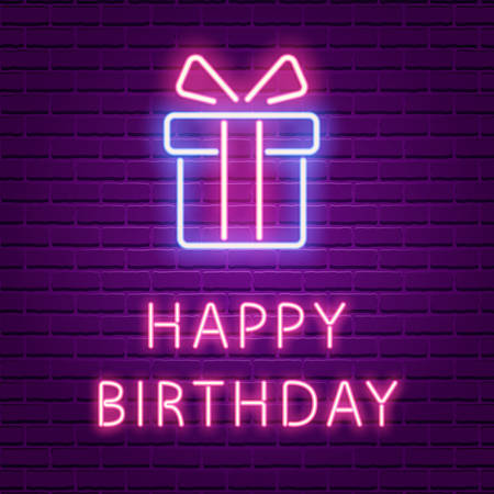 Happy Birthday Neon Glowing text and Gift box shape. 80s retro banner template. Vector illustration. Greeting card, party Invitation, poster, wallpaper design.