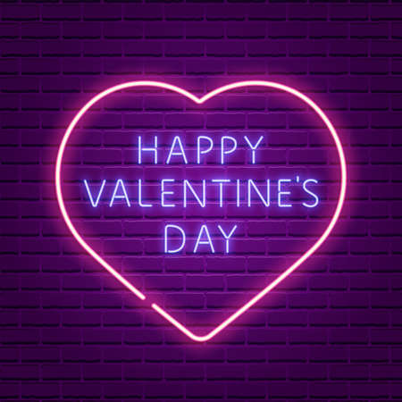 Happy Valentines Day. Neon glowing text Valentines Day greeting card design.