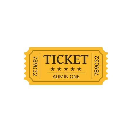 Cinema ticket, isolated on white. Retro style. Vector illustration. 向量圖像