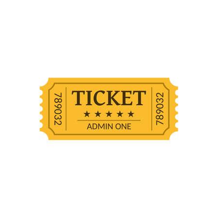 Cinema ticket, isolated on white. Retro style. Vector illustration. Ilustrace