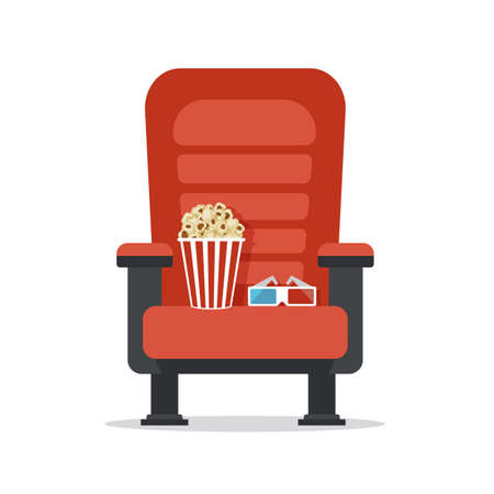 Cinema seat, isolated on white. Movie watching with popcorn and 3D glasses. Film industry. Cinematography concept. Vector illustration.