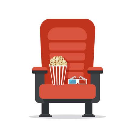 Siège de cinéma, isolé sur blanc. Regarder un film avec du pop-corn et des lunettes 3D. Industrie du cinéma. Concept de la cinématographie. Illustration vectorielle Banque d'images - 93648002