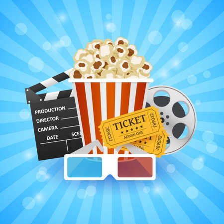 Cinema banner. Movie watching with popcorn and 3D glasses illustration. Illustration