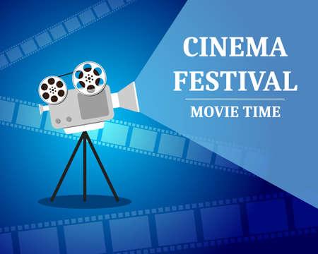 Festival de cinema, cartaz de convite de tempo de filme com projetor de filme. Foto de archivo - 93957685