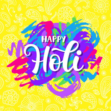 Happy Holi poster with hand written modern calligraphy