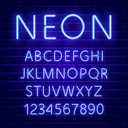 Glowing blue neon character font 写真素材 - 94673091