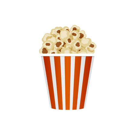 Popcorn in striped bucket, isolated on white background. Illustration
