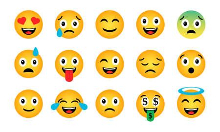 Emoji set. Cute funny emotional icons on white background. Illustration
