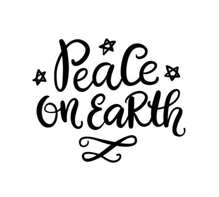 Christmas greeting card. Peace on Earth modern calligraphy Illustration