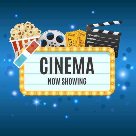Cinema Banner. Movie watching with popcorn and 3D glasses Stock fotó - 94793168