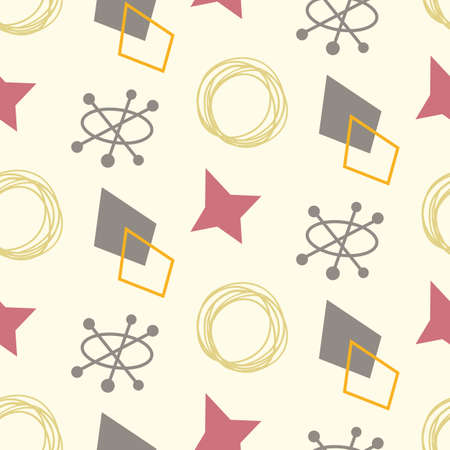 Mid century modern seamless pattern. 1950s vintage style atomic background, retro vector illustration.  イラスト・ベクター素材