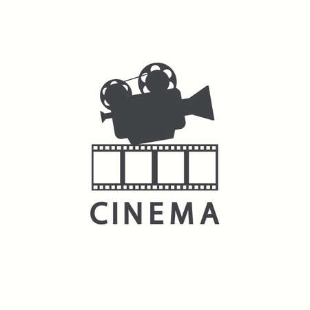 Cinema icon. Vector movie emblem template, isolated on white background