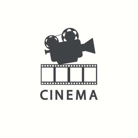 Cinema icoon. Vector film embleem sjabloon, geïsoleerd op een witte achtergrond Vector Illustratie