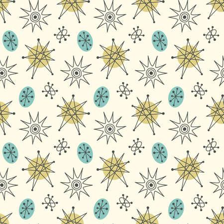 Halverwege de eeuw modern naadloos patroon, sterren in herhaalde illustratie. Stock Illustratie