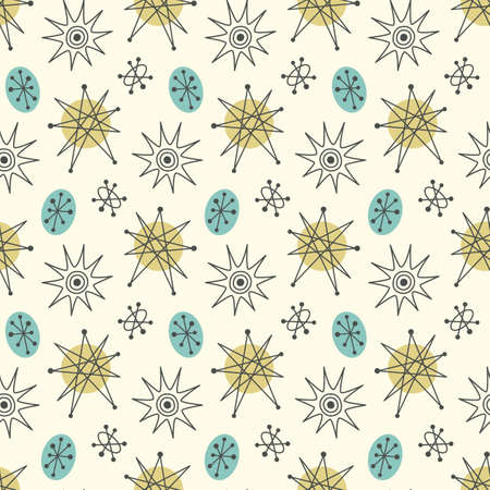 Mid century modern seamless pattern, stars in repetitive illustration. Çizim