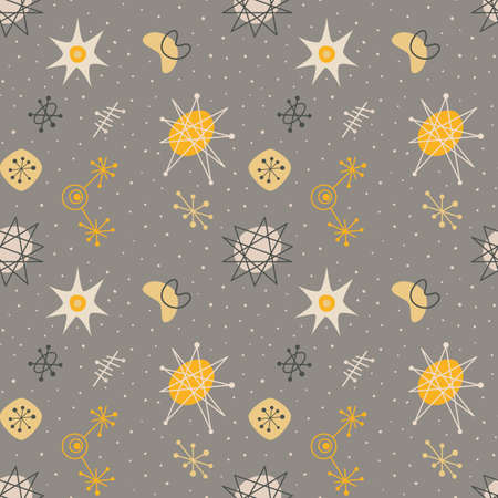 Mid century modern seamless pattern, galaxy elements repetitive illustration. Иллюстрация
