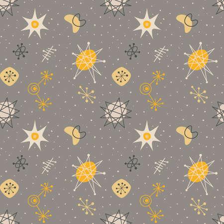 Mid century modern seamless pattern, galaxy elements repetitive illustration. Vettoriali