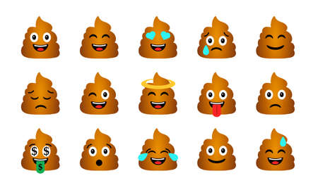 Cartoon Poop Emoticons Set. Happy and sad shit characters icons