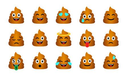 Set di emoticon cacca del fumetto. Icone di personaggi di merda felice e triste Archivio Fotografico - 94982526