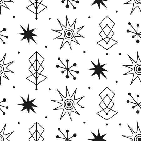 Mid century modern seamless pattern.