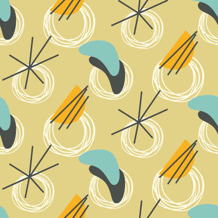 Mid century modern seamless pattern Vector illustration.