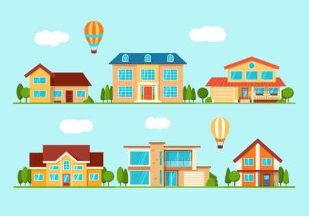 Set of modern city cottage house, front view Ilustração