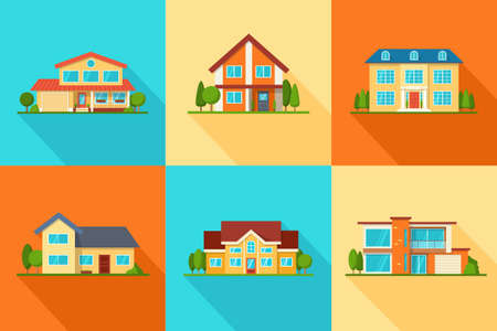 Set of modern city cottage houses, buildings icons, front view