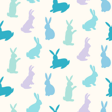 Rabbits silhouettes seamless pattern isolate don plain background. Çizim