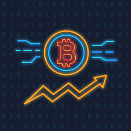 Neon Bitcoin logo. Crypto currency glowing icon sigh