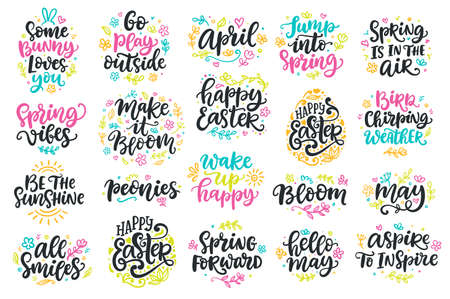 Spring and Easter modern calligraphy quotes set