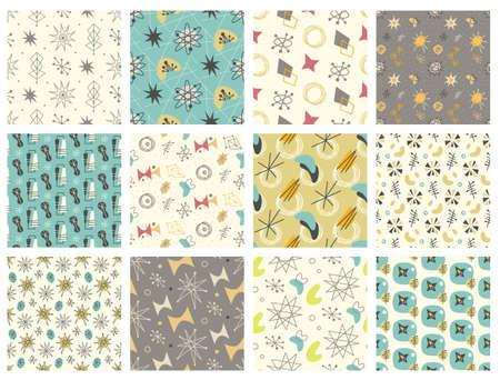 Set of Mid century modern seamless pattern