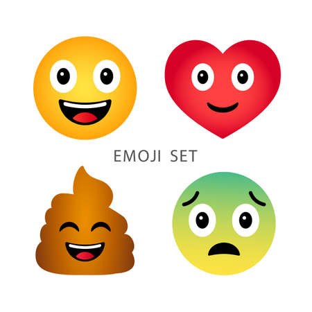 Emoji set. Cute funny cartoon emotional heart, poop, happy and sad emoticons