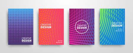 現代の未来的な抽象的な幾何学的カバーセット。最小限のカラフルなトレンディなテンプレートのデザイン。クールなグラデーション図形。ポスタ  イラスト・ベクター素材