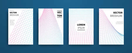 Modern abstract geometric linear grid covers set. Minimal colorful trendy templates design. Poster background composition. Vector illustration. Illustration