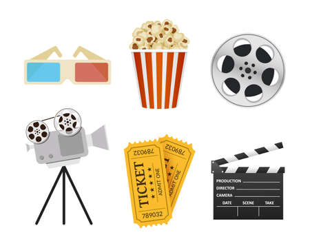 Movie Icons. Realistic style. Popcorn, 3D glasses, cinema clapper, ticket Illustration